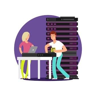 Platte stripfiguren serverbeheerders