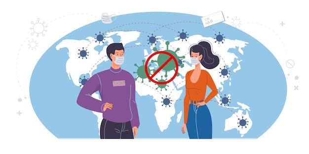 Platte stripfiguren tonen maatregelen ter preventie van coronavirus