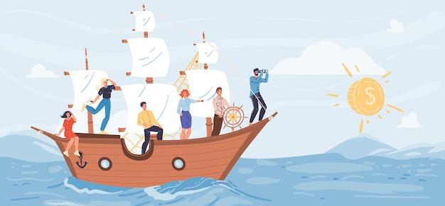 Platte stripfiguren varen op schip op zoek naar afstand op glanzende munt