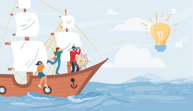 Platte stripfiguren varen op schip op zoek naar afstand op gloeiende lamp