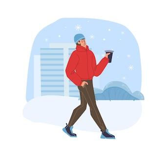 Platte stripfiguur die in het winterseizoen buiten in de sneeuw loopt met koffie in handen