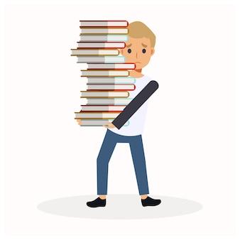 Platte stripfiguur illustratie van een jongen met een grote stapel boeken. de jongen is verdrietig omdat hij te veel boeken heeft om te lezen. opleiding.