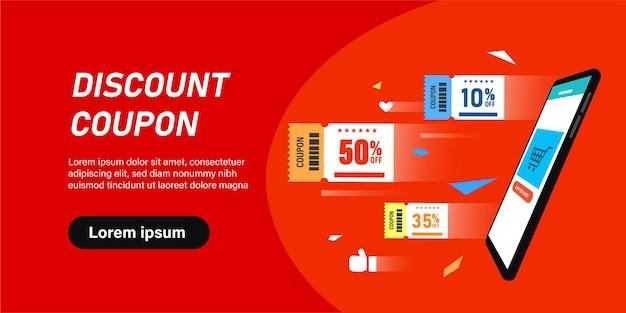 Platte stripfiguur klant 50 procent korting met coupon door smartphone