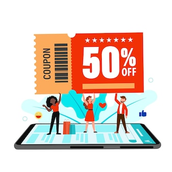 Platte stripfiguur klant 50 procent korting met coupon