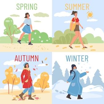 Platte stripfiguur meisje buiten wandelen in verschillende kleding in verschillende seizoenen