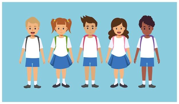 Platte stripfiguur van een groep kinderen van verschillende nationaliteiten die schooluniform met rugzakken dragen.