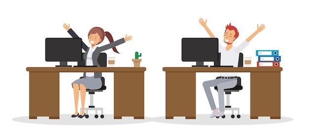 Platte stripfiguur van mensen uit het bedrijfsleven is blij om te werken op kantoor. zakenman en zakenvrouw zijn blij.