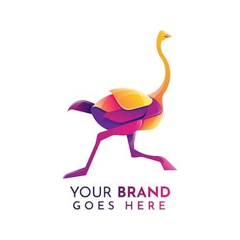 Platte struisvogel logo sjabloon