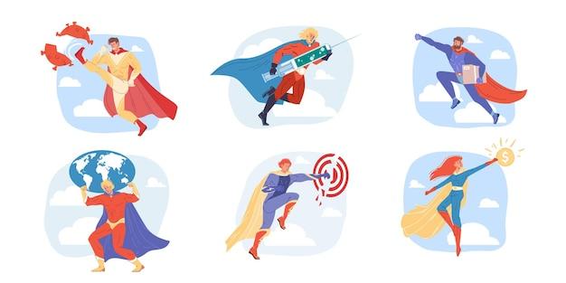 Platte superheld stripfiguren die verschillende banen vertegenwoordigen