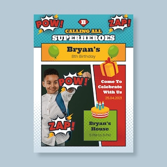 Platte superheld verjaardag uitnodiging sjabloon