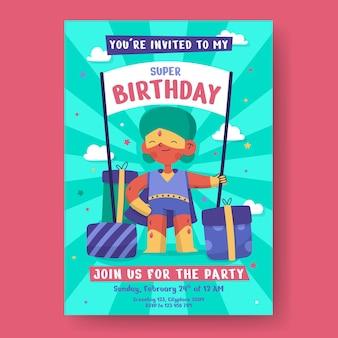 Platte superheld verjaardagsuitnodiging