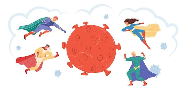 Platte superhelden van stripfiguren bestrijden het coronavirus en beschermen mensen