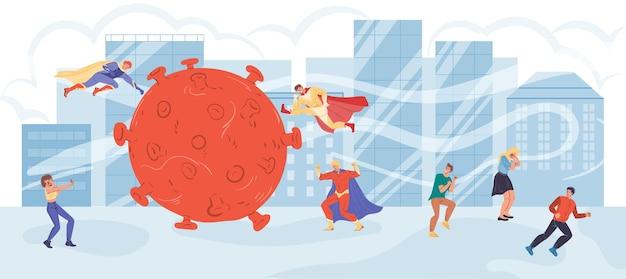 Platte superhelden van stripfiguren vechten tegen het coronavirus