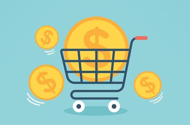 Platte supermarkt kar pictogram met grote gouden munt geld. vector illustratie ontwerp.
