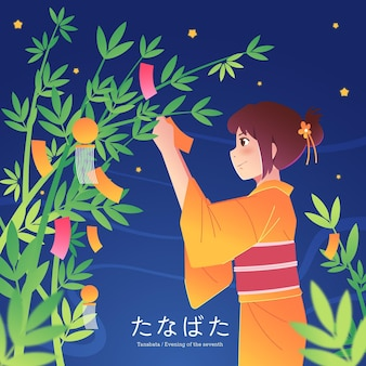 Platte tanabata viering illustratie