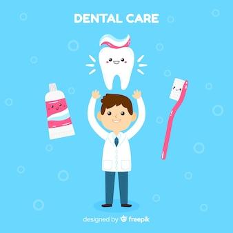 Platte tandarts karakter achtergrond