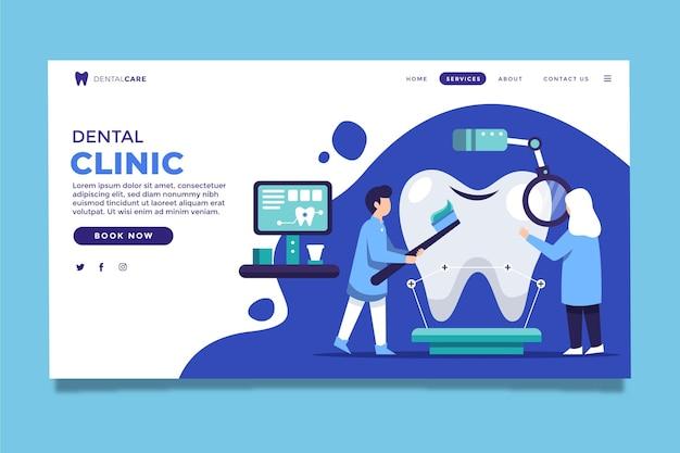 Platte tandheelkundige gezondheidszorg websjabloon