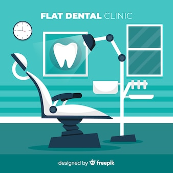 Platte tandheelkundige kliniek stoel achtergrond