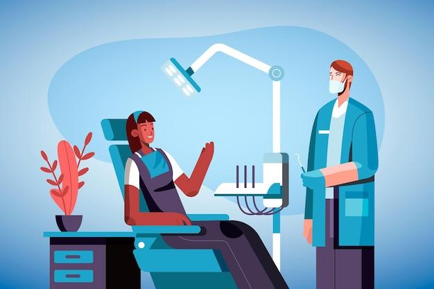 Platte tandheelkundige zorg concept illustratie