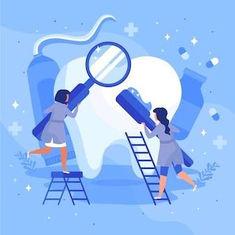 Platte tandheelkundige zorg concept
