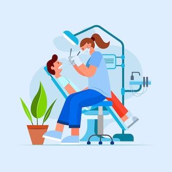 Platte tandheelkundige zorg illustratie