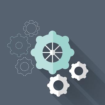 Platte tandwielpictogrammen over blauw. vector illustratie