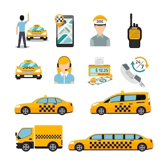 Platte taxi pictogrammen. vervoersdienst. cabine en voertuig, autoverkeer.