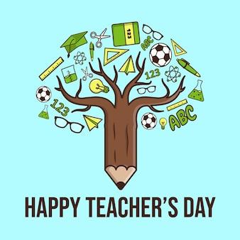 Platte teacher's day illustratie. premium vector