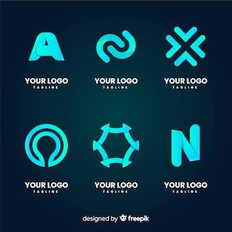 Platte technologie logo collectie