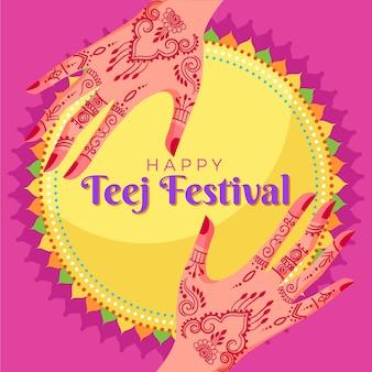 Platte teej festival illustratie Premium Vector