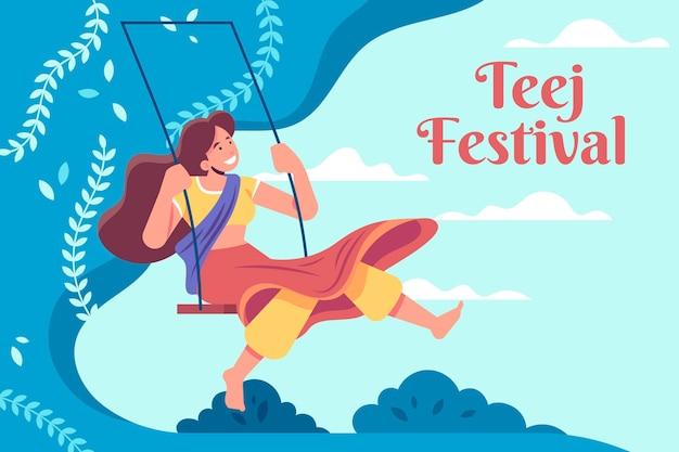 Platte teej festival illustratie
