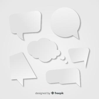 Platte tekstballon collectie in papierstijl