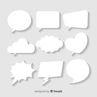 Platte tekstballon in papierstijl