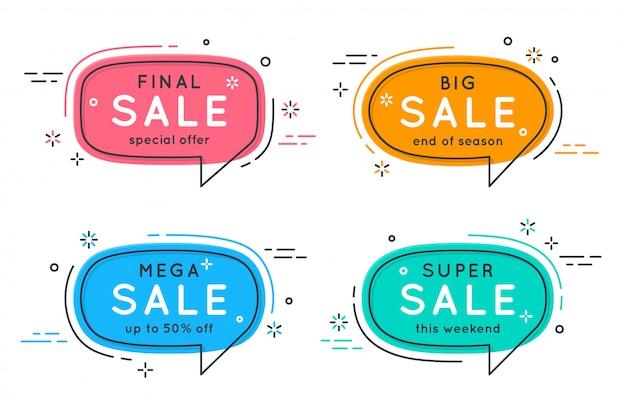 Platte tekstballon vormige banners, prijskaartjes, stickers, badges.