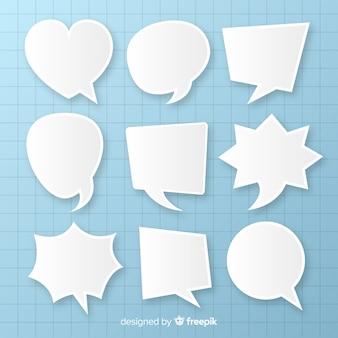 Platte tekstballonnen array in papierstijl
