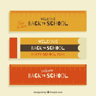 Platte terug naar school banners liniaal stijl