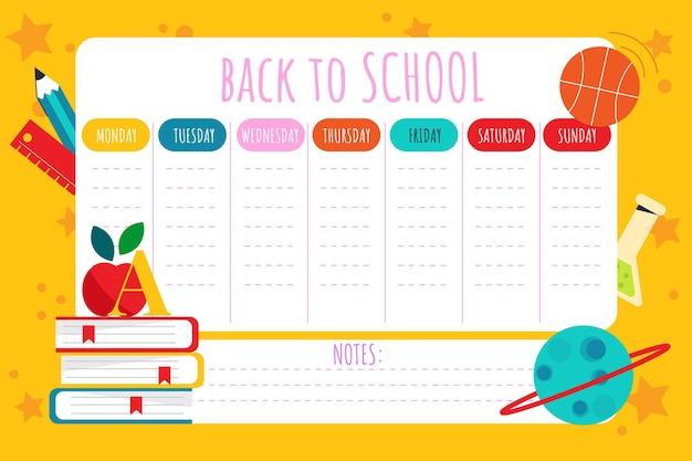 Platte terug naar school tijdschemasjabloon Gratis Vector