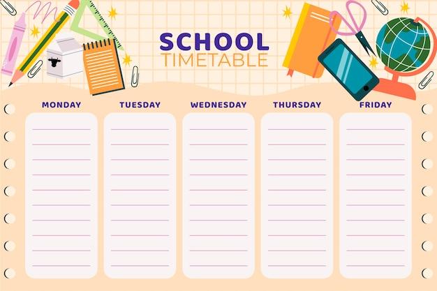 Platte terug naar school tijdschemasjabloon