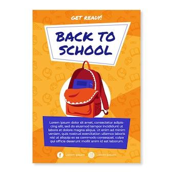 Platte terug naar school verticale flyer-sjabloon