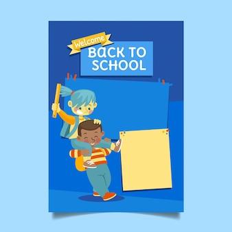 Platte terug naar school verticale postersjabloon