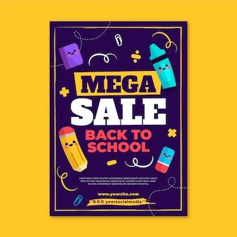 Platte terug naar school verticale verkoop flyer-sjabloon