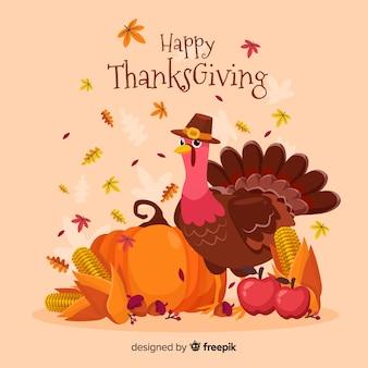 Platte thanksgiving achtergrond en turkije met hoed