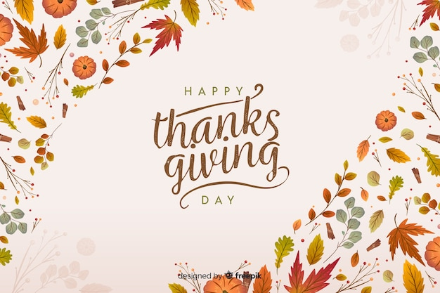 Platte thanksgiving achtergrond met gedroogde bladeren