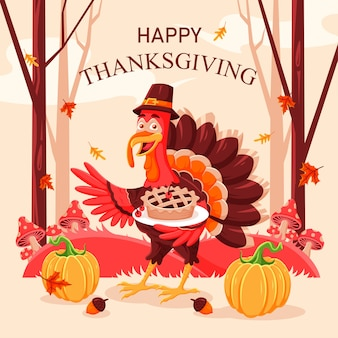Platte thanksgiving achtergrondontwerp