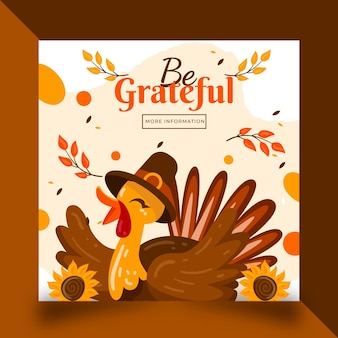 Platte thanksgiving instagram postsjabloon