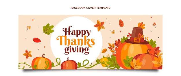 Platte thanksgiving sociale media voorbladsjabloon