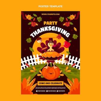 Platte thanksgiving verticale postersjabloon