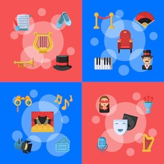 Platte theater pictogrammen infographic concept