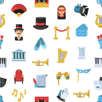 Platte theater pictogrammen patroon