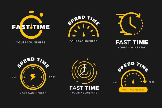 Platte tijd logo sjablonen collectie